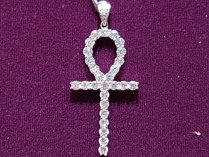 Iced-Out Ankh Pendant Silver - Lucky Diamond 恆福珠寶金行 New York City 169 Canal Street 10013 Jewelry store Playboi Charlie Chinatown @luckydiamondny 2124311180