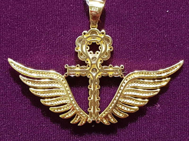 Iced-Out Ankh with Wings Pendant Silver - Lucky Diamond 恆福珠寶金行 New York City 169 Canal Street 10013 Jewelry store Playboi Charlie Chinatown @luckydiamondny 2124311180