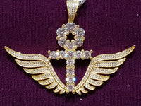 Iced-Out Ankh w/ Wings Pendant Silver - Popular Jewelry