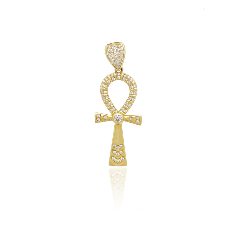 Ankh Icy Bezel Pendant (14K) Popular Jewelry New York