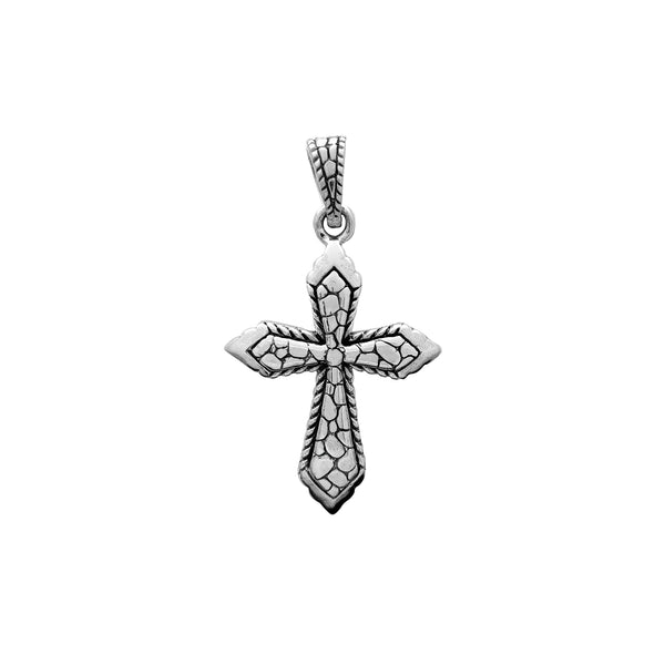 Antique-Finish Nugget Textured Cross Pendant (Silver) Popular Jewelry New York