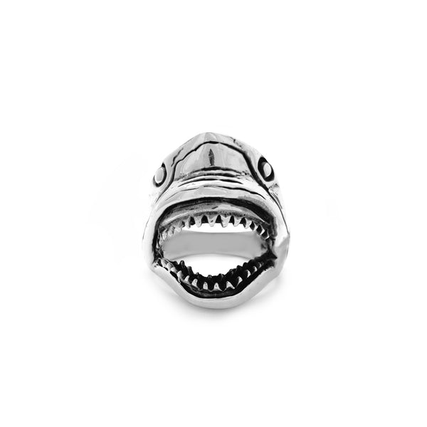 Antique-Finish Shark Head Ring (Silver) Popular Jewelry New York