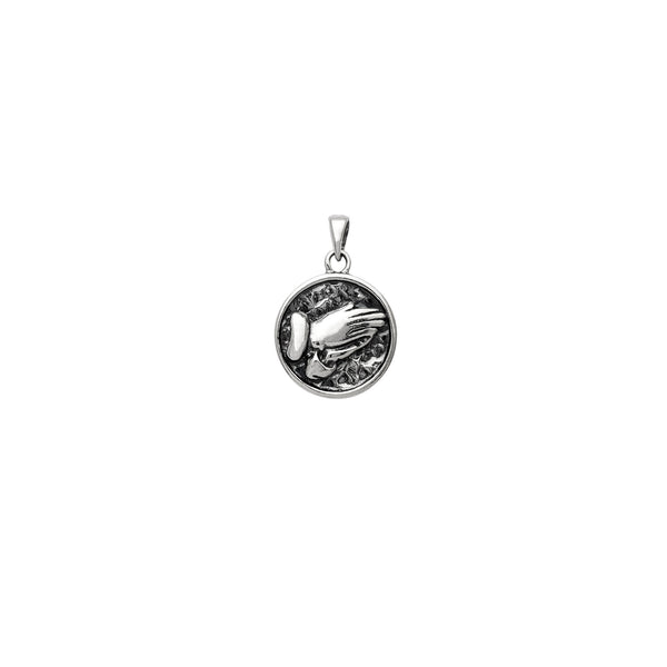 Antique-Finish Praying Hand Medallion Pendant (Silver)