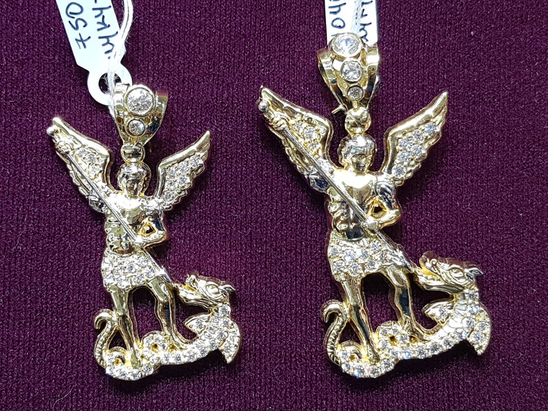 Iced-Out Archangel Michael Pendant 14K - Lucky Diamond 恆福珠寶金行 New York City 169 Canal Street 10013 Jewelry store Playboi Charlie Chinatown @luckydiamondny 2124311180