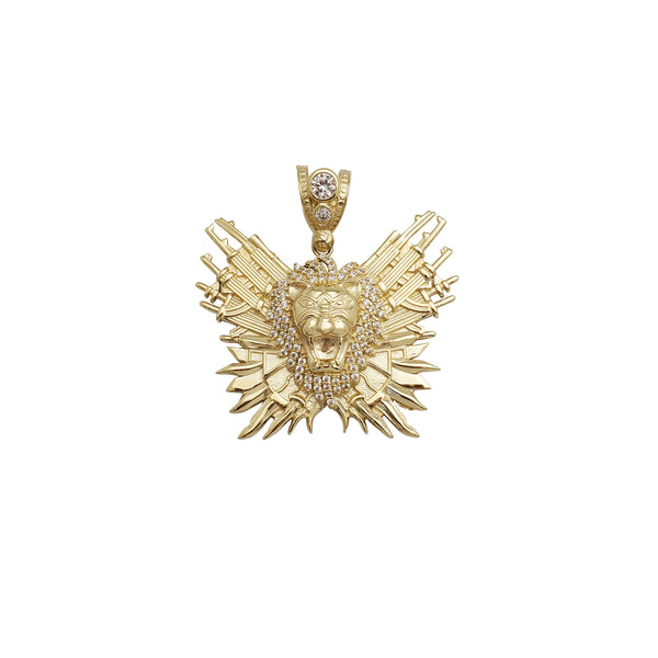 Armed Lion Head CZ Pendant (14K)