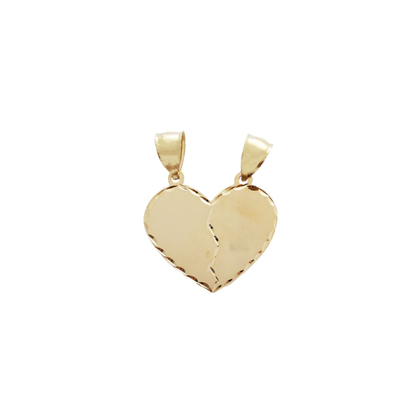 Diamond Cuts Scan-Line Partable Heart Pendant (14K)