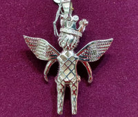 Iced-Out Crowned Baby Angel Pendant Silver (Rear) - Popular Jewelry