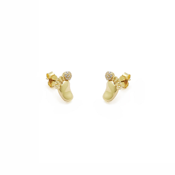 Baby Footprint Stud Earrings (14K)