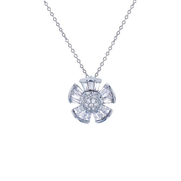 Baguette Flower Necklace (Silver)
