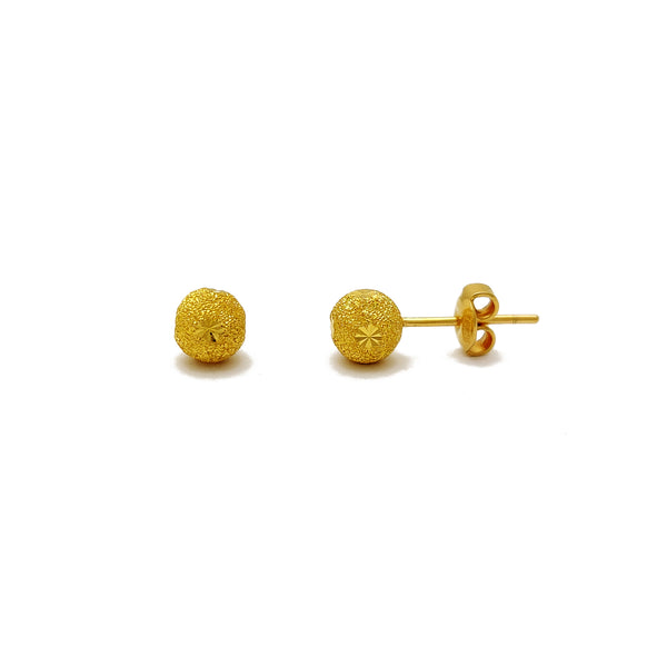 Sand Blasted Ball Stud Earring (24K) Popular Jewelry New York