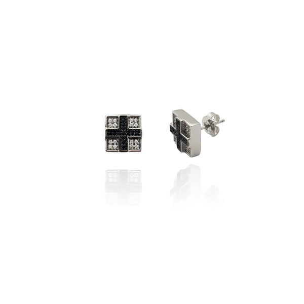 Black Cross on Square Earrings (Silver) Popular Jewelry