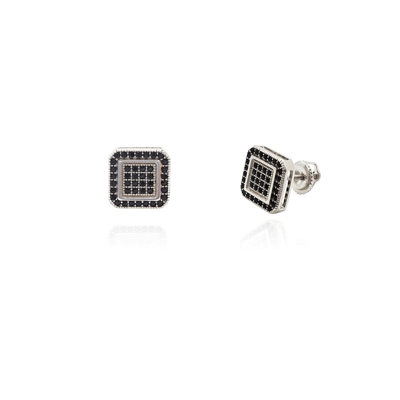 Black Square Stud Earrings (Silver) Popular Jewelry New York