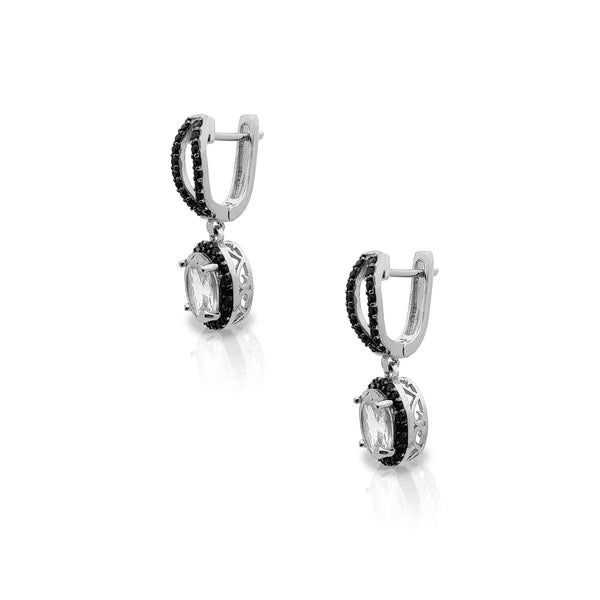 Swarte stien Halo drop earringen (sulver) Popular Jewelry New York