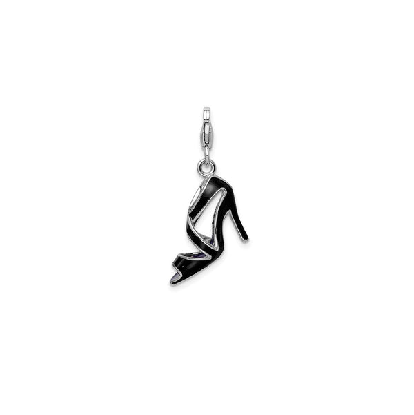 3-D Enameled Black High Heel Charm (Silver)