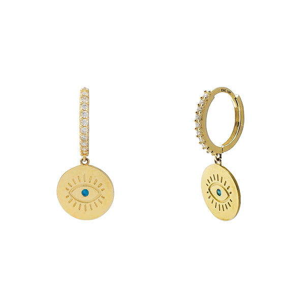 Blue-Eye Evil Eyes Hanging Earrings (14K) Popular Jewelry New York