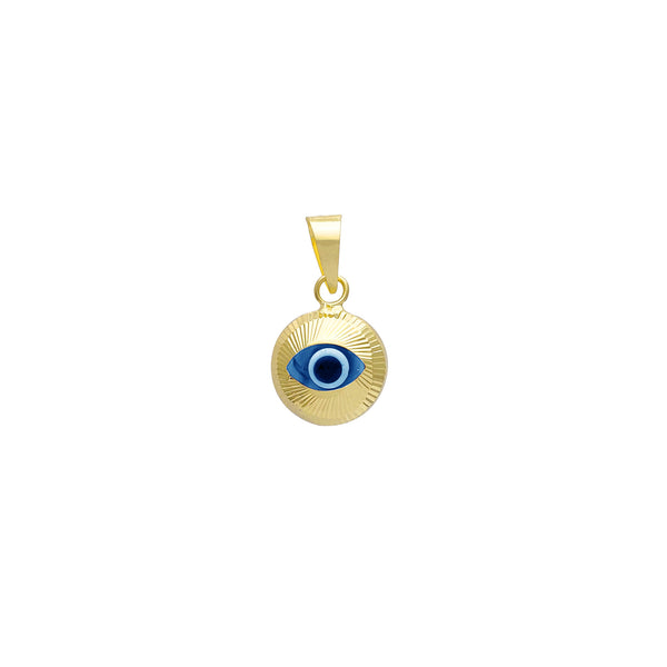 Spiral Fluted Textured Evil Eye Pendant (14K)