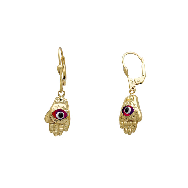 Hamsa Hand Drop Earrings (14K)