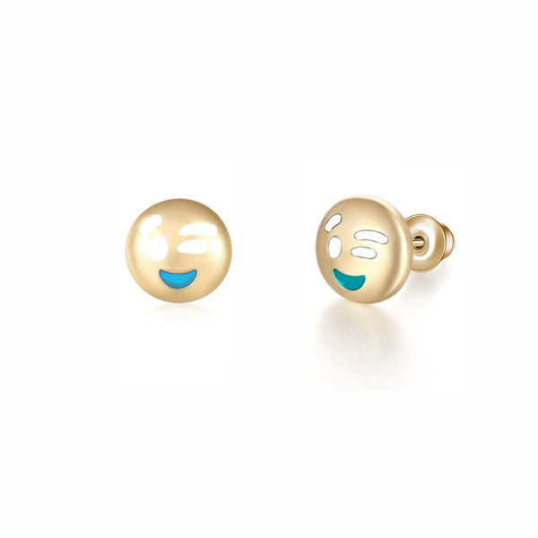 Wink Emoji Stud Earrings (14K)