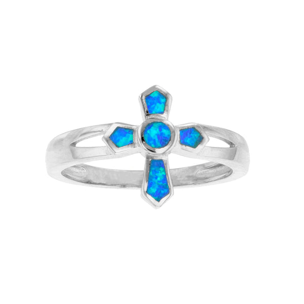 Blue Opal Cross Ring (Silver) Popular Jewelry New York
