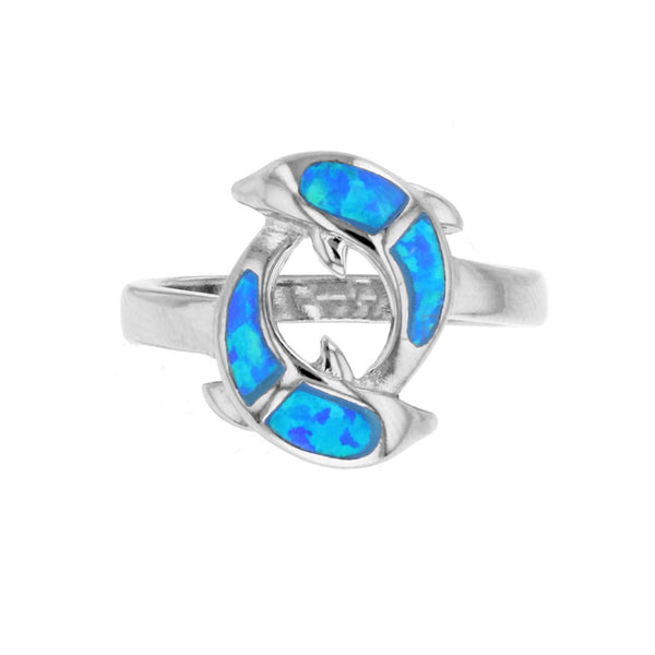 Blue Opal Dolphin Ring (Silver) Popular Jewelry New York