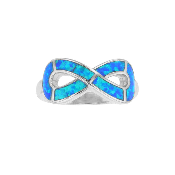 Blue Opal Infinity Symbol Ring (Silver) Popular Jewelry New York
