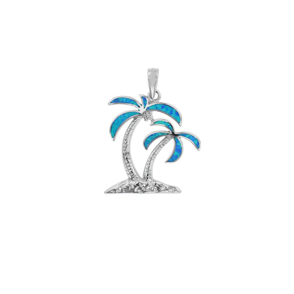 Blue Opal Island Palm Tree Pendant (Silver) Popular Jewelry New York