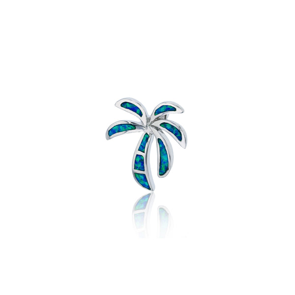Blue Opal Palm Tree Pendant (Silver) Popular Jewelry New York
