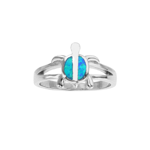 Blue Opal Shell Turtle Ring (Silver) Popular Jewelry New York