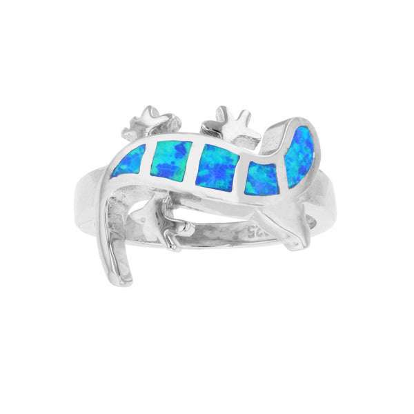 Blue Opal Sideways Gecko Ring (Silver) Popular Jewelry New York