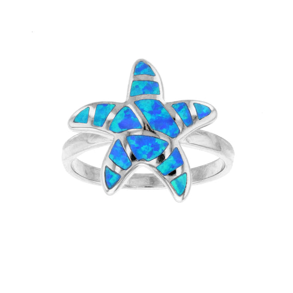 Blue Opal Starfish Ring (Silver)