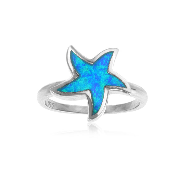 Blue Opal Starfish Ring (Silver) Popular Jewelry New York
