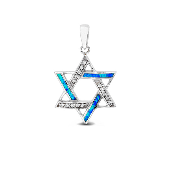 Blue Opal Star of David Pendant (Silver) Popular Jewelry New York