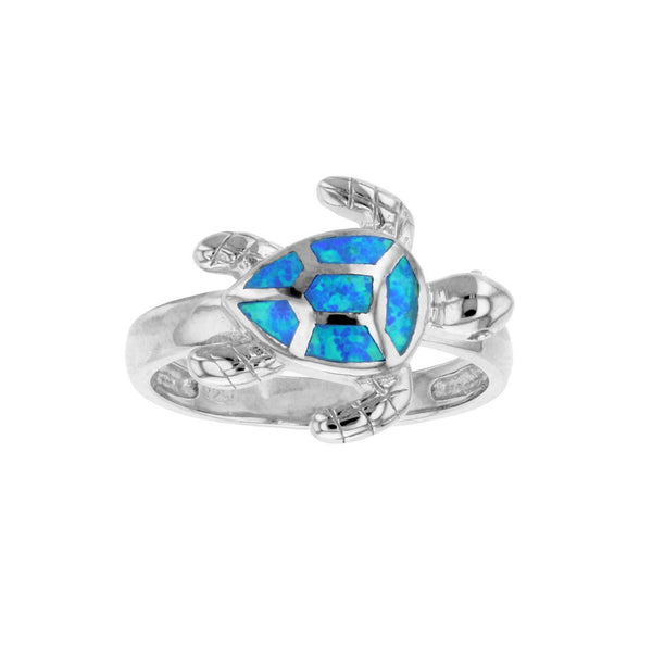 Blue Opal Turtle Ring (Silver) Popular Jewelry New York
