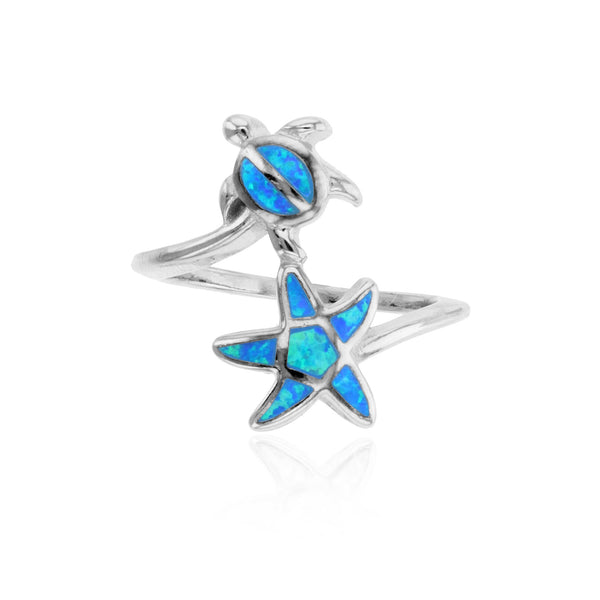 Blue Opal Turtle & Starfish Ring (Silver) Popular Jewelry New York