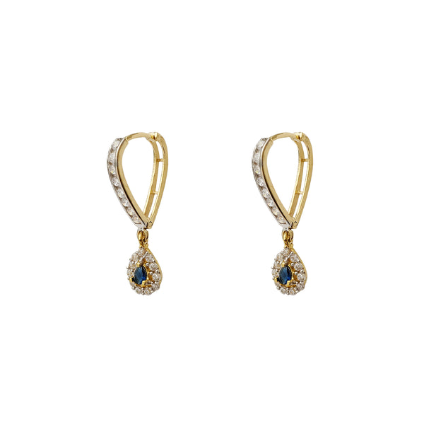 Blue Stone Pave Teardrop V-Shape Hanging Huggie Earrings (14K) Popular Jewelry New York
