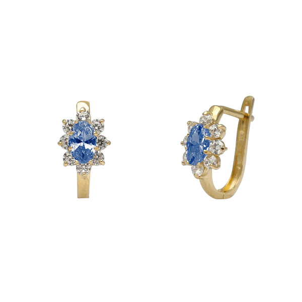 Zirconia Marquise Flower Huggie Earrings (14K)