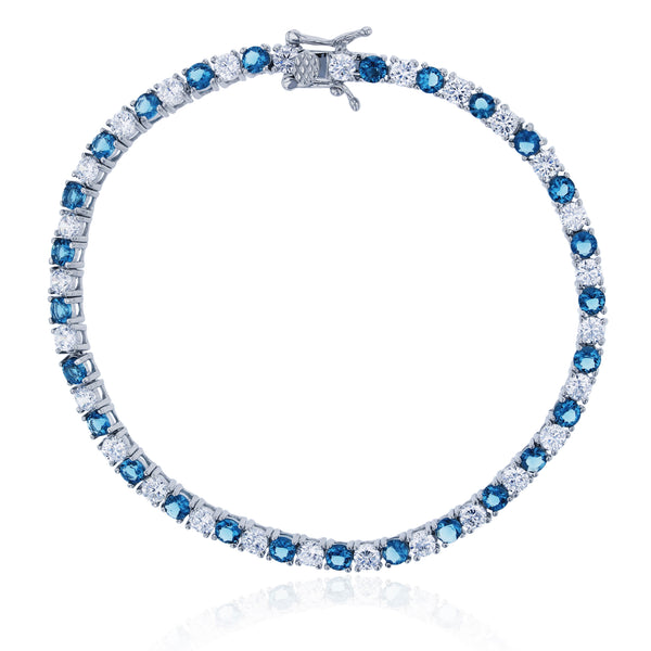 Blue & White Tennis Bracelet (Silver) Popular Jewelry New York