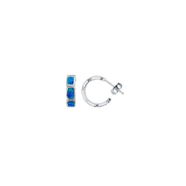 Blue Opal Huggies with Push Back (Silver)