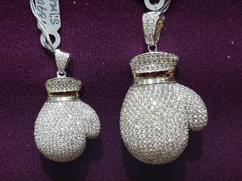 Iced-Out Boxing Glove Pendant Silver - Lucky Diamond 恆福珠寶金行 New York City 169 Canal Street 10013 Jewelry store Playboi Charlie Chinatown @luckydiamondny 2124311180