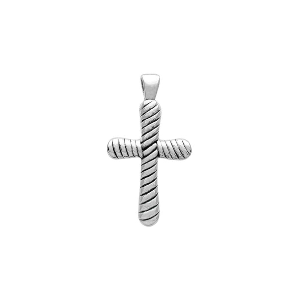 Braided Puffy Cross Pendant (Silver) Popular Jewelry New York