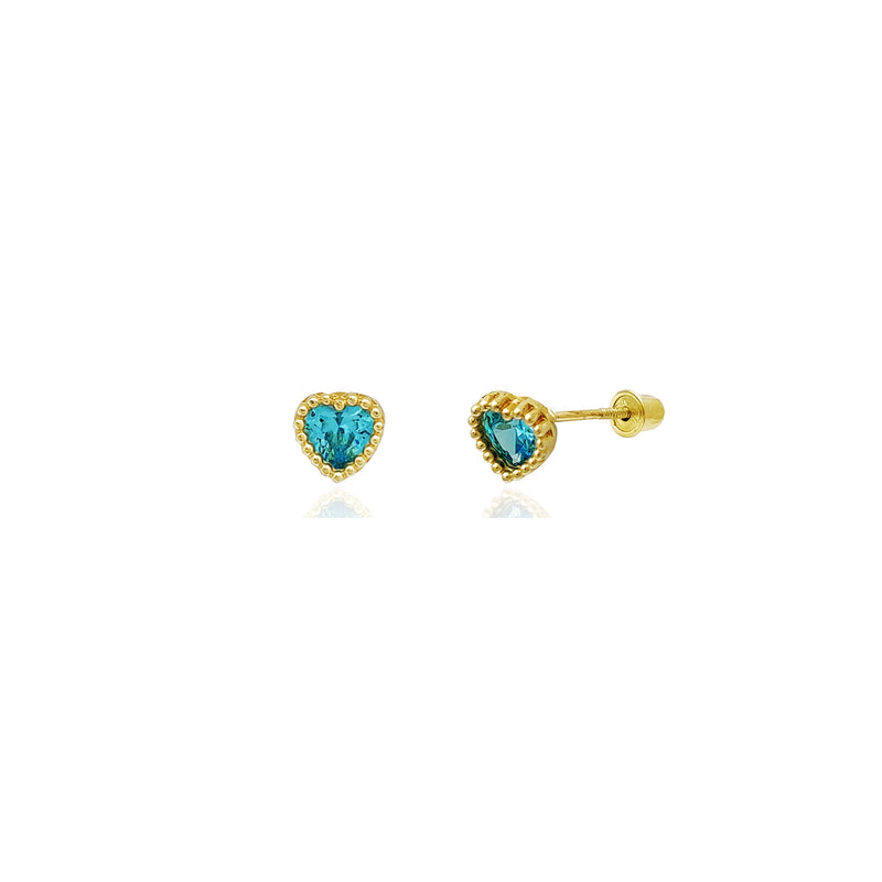 Beaded Heart Stud Aquamarine CZ Earrings (14K) 14 Karat Yellow Gold, Popular Jewelry New York