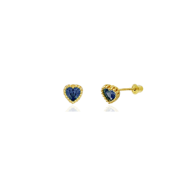Beaded Heart Stud Blue CZ Earrings (14K) 14 Karat Yellow Gold, Popular Jewelry New York