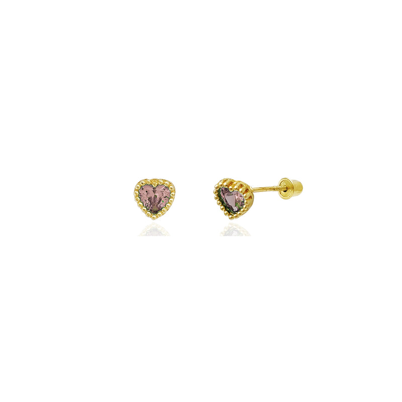 Beaded Heart Stud Pink CZ Earrings (14K) 14 Karat Yellow Gold, Popular Jewelry New York