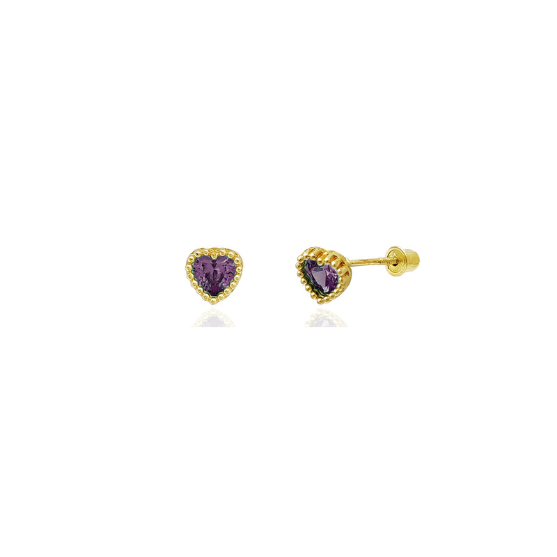 Beaded Heart Stud Purple CZ Earrings (14K) 14 Karat Yellow Gold, Popular Jewelry New York
