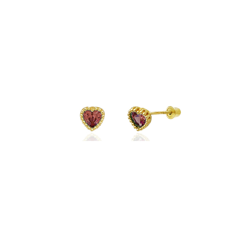 Beaded Heart Stud Red CZ Earrings (14K) 14 Karat Yellow Gold, Popular Jewelry New York