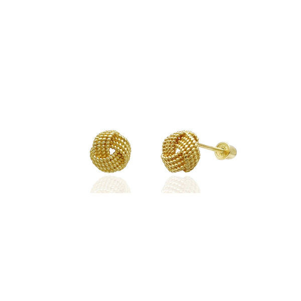Braided Love Knot Stud Earrings (14K) 14 Karat Yellow Gold, Popular Jewelry New York