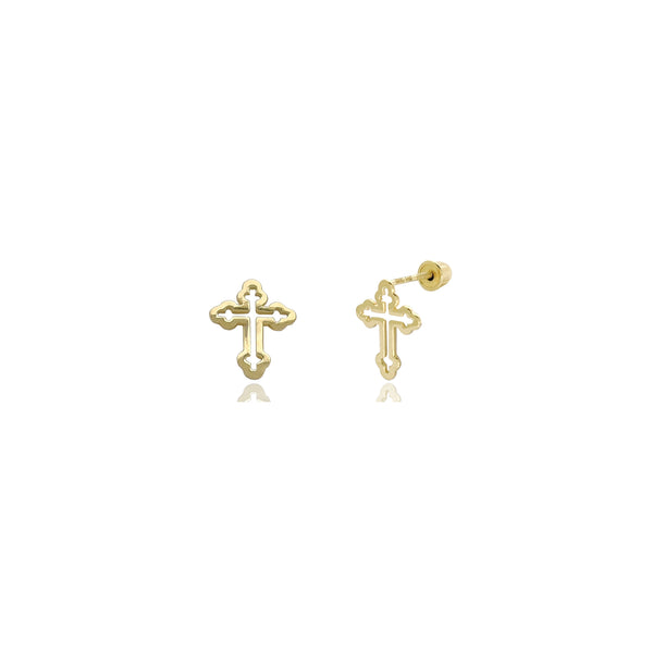 Budded Outline Cross Stud Earrings (14K) 14 Karat Yellow Gold, Popular Jewelry New York