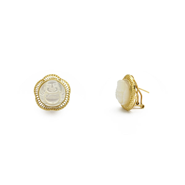 Buddha Mother of Pearl Stud Earrings (14K) main - Popular Jewelry - New York