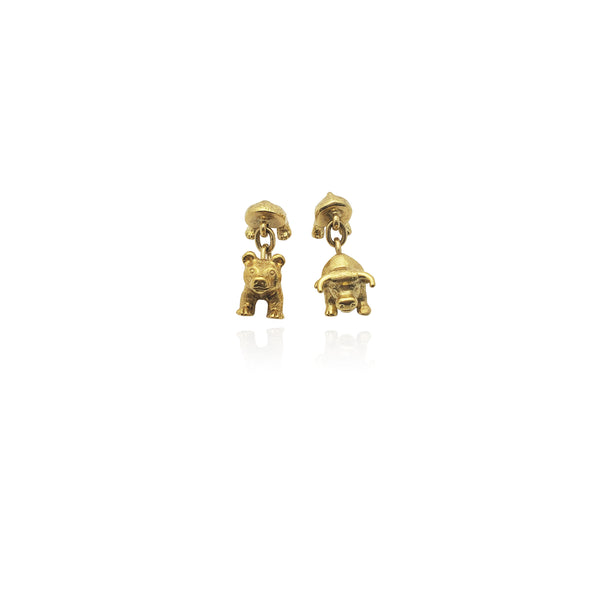 Bull & Bear Cuff Link (18K) New York Popular Jewelry