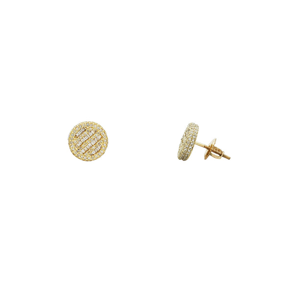 Diamond Circular Stud Earrings (14K)